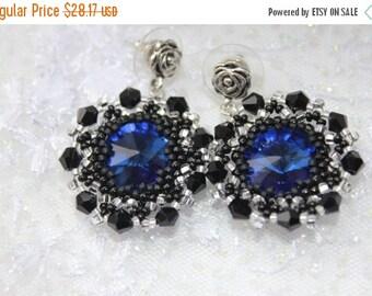 SALE 25% Beadwork earrings , bead earrings  blue crystal earrings, gift idea, Seed Bead Earrings-Round Earrings-Beadwoven Earrings