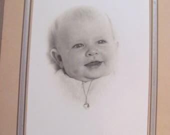 Vintage Studio Head Photo of a Baby