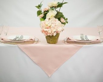54 inch Square Blush Tablecloth Polyester | Wedding Table Overlay