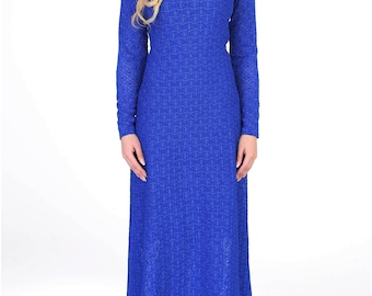 Royal Blue Lace Maxi Dress Round Neck Long Sleeves