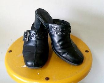 Clarks Black Leather Clogs Size 7.5W