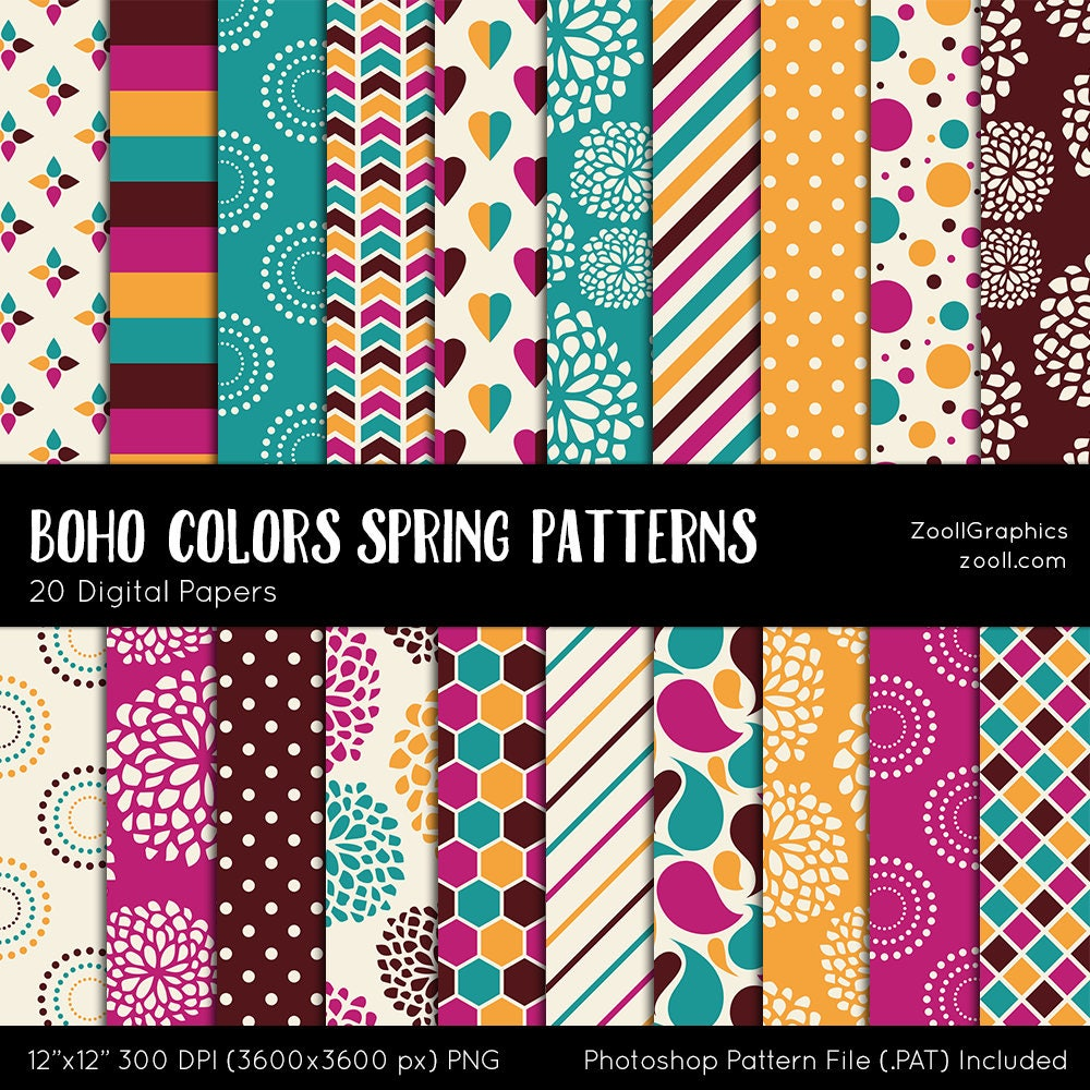 Boho Colors Spring Patterns 20 Digital Papers 12 X12