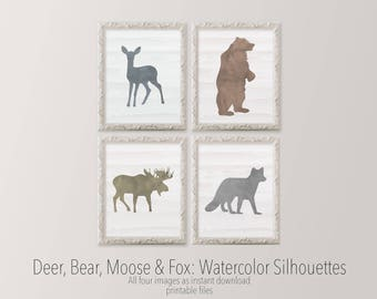 Printable Art 11x14 set of four nursery art Watercolor Deer Bear Moose Fox Gallery wall Woodland nursery silhouettes HEART OF LIFE Design