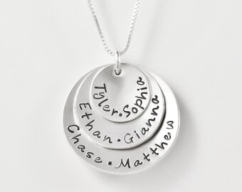 Necklace for Mom | Sterling Silver personalized mothers necklace with kids names | 3 disc necklace