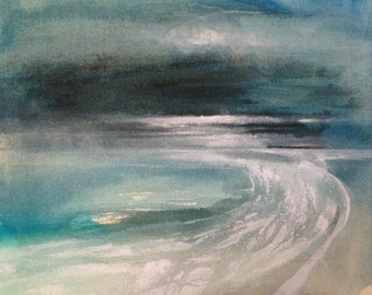 At low tide 2 - Ink and acrylic on canvas, original painting, abstract seascape. Contemporary art.