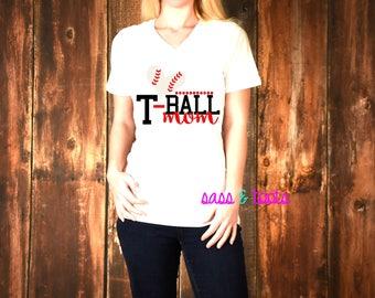 T-Ball Tball Tee Ball Baseball Mom Mommy Mama Daughter Son Womens Womans V-Neck Shirt Name Custom Women Ladies Plus Size