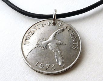 Coin necklace, Bermuda, Birds, Coin jewelry, Leather necklace, Bird necklace, Vintage necklace, Coins, Repurposed coin, Longtail, 1973
