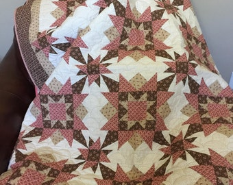 Civil War Pink and Brown Quilt