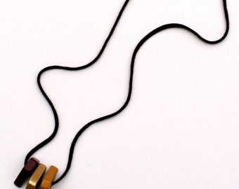 Handmade necklace/minimalist necklace/wood/wooden necklace/wooden jewelry/rope necklace/pendants/burgundy/ochre/golden/cotton/gift for her