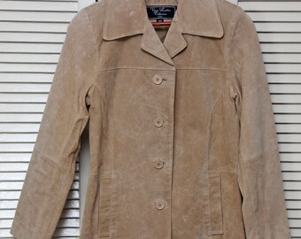 Vintage Vance Leather Collection Women's XS Tan SUEDE JACKET Nice!