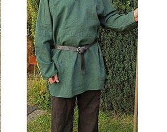 Viking tunic linnen dark green medieval middleages reenactment birka larp
