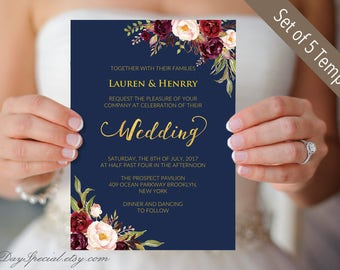 5 Navy Wedding Invitation Templates, Printable Burgundy Floral Wedding Invites Set, Rustic Boho, Invite Set, DIY PDF Digital Download #109