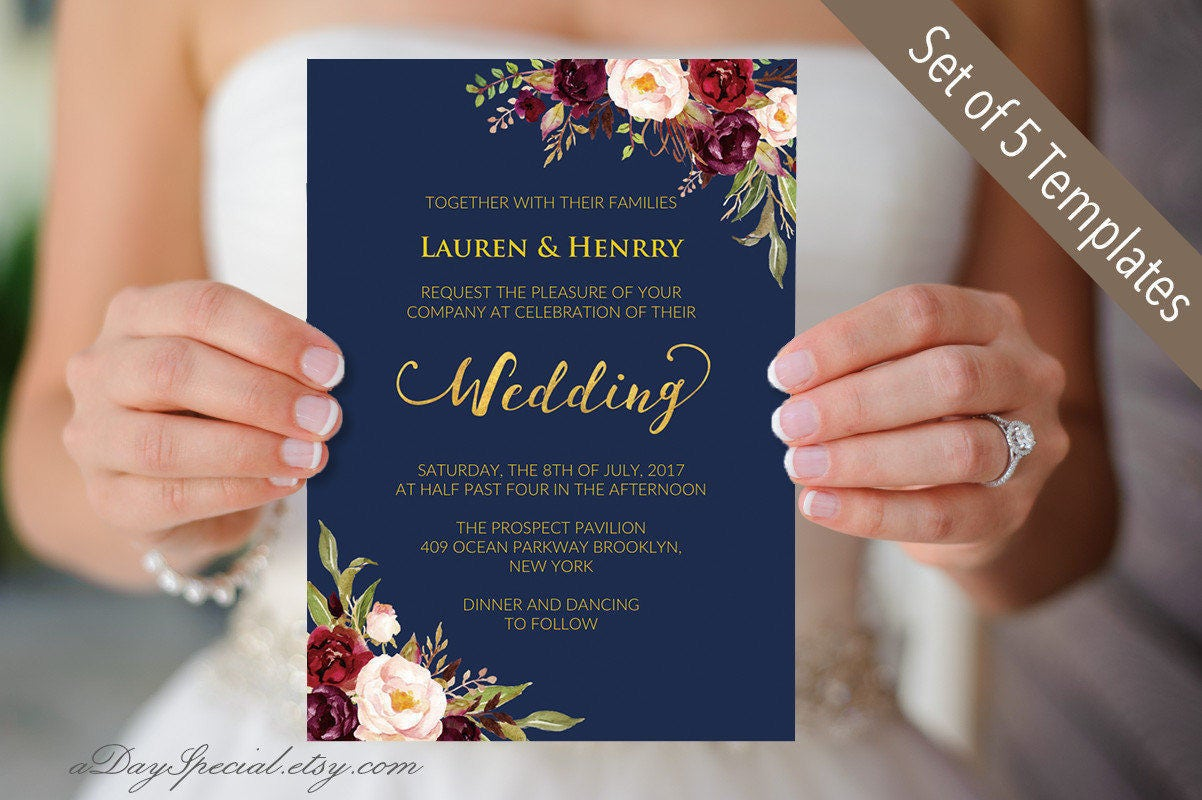 5 Navy Wedding Invitation Templates Printable Burgundy Floral