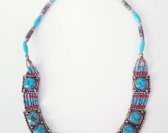 Vintage Nepalese necklace, tribal style.