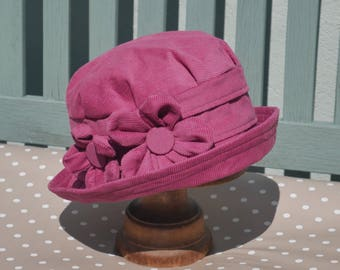 Fuchsia Pink Home grown daisy flower cloche hat