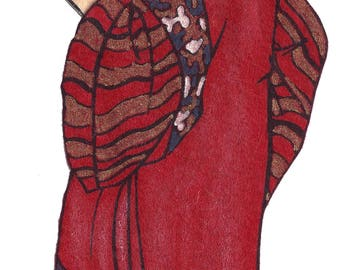 Vintage 1950's Red Robe Bible Man Felt Board Applique 3-D Details 12 Inches Long