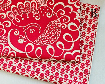 Red birds /red flowers VB cotton fabric printed fabric  AB version--Cotton fabric, bedding fabric, bag fabric,curtain fabric--1/2 yard