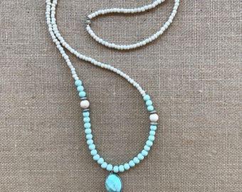 Long Aqua Necklace, Long Beaded Necklace, Boho Necklace, Boho Jewelry, Turquoise Jewelry, Long Necklace, Long Boho Necklace