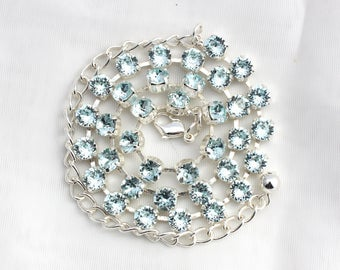 SALE - NECKLACE or BRACELET - Light Azore Blue 6mm Swarovski Crystal Jewelry - Available in Multiple Finishes