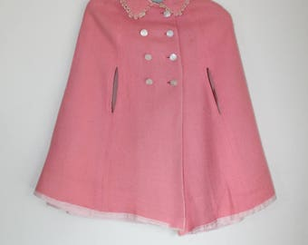 Girls Pink Cape White Lace Buttons 1960s