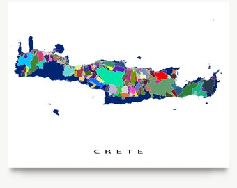 Crete Greece, Crete Map Print, Greek Island, Travel Map