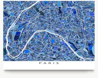 Paris Print, Paris Map, Paris France City Map Art, Blue Maps