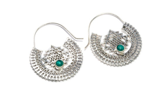 White Brass Sri Yantra Hoops with Turquoise Gemstone Tribal Earrings Mandala Inspired Jewellery Free UK Delivery Gift Boxed WB59