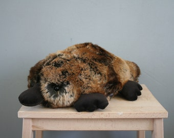 Pete platypus, fat platypus plush made with very high quality faux fur, made to order