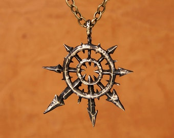 Warhammer 40K Large Chaos Star Pendant Necklace With Chain