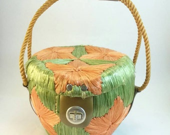 SALE Vintage raffia & straw purse