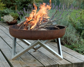 Steel Fire Pit YANARTAS - Contemporary Design / Outdoor Heater / Garden Wood Burner / Fire Bowl