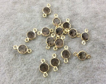 BULK LOT - Pack of Six (6) Gold Vermeil Pointed/Cut Stone Faceted Round/Coin Shaped Smoky Quartz Bezel Connectors - Measuring 5mm x 5mm