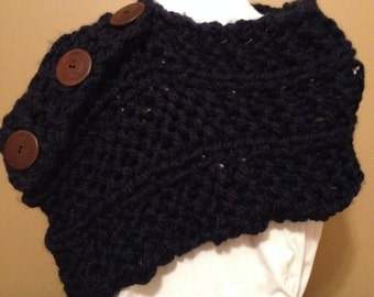 Navy blue wool knitted multi-way shawl scarf