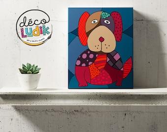 Canvas of the dog, wall art, canvas print, home decor, art print of a dog, nursery art print