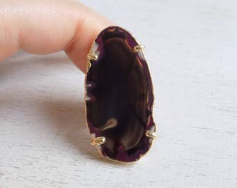 Agate Ring, Purple Brown Agate Slice Ring, Sliced Agate Ring, Geode Crystal Ring, Large Gemstone Ring, Gold Adjustable Statement Ring, 9-43