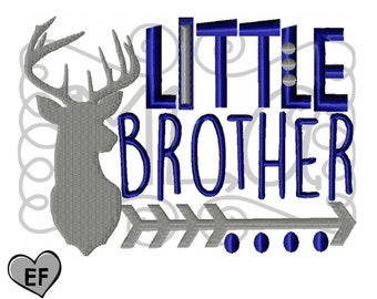 Deer little brother arrow 4x4 5x7 6x10 embroidery file - JEF -cute kids design - childrens shirt - embroidery design -arrow brother design