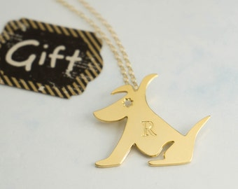 Dog Necklace, Gold Initial Necklace, Engravable Gold Necklace, Gold Custom Necklace, Custom Initial Necklace, Pet Jewelry, Animal Jewelry