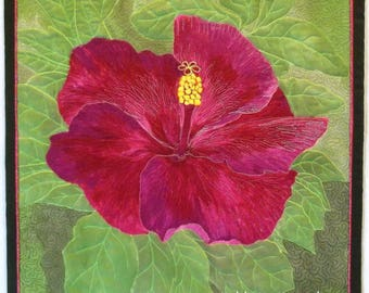 Flower Wall Art Quilt, Quilted Wall Hanging, Pink Hibiscus Textile Art, Fiber Art Quilt, Floral Gift for Her in Pink, Magenta, Green, Brown