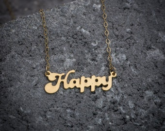 """Statement necklace, happy necklace, script necklace, """"happy"""" word necklace, gift under 50, goldfilled necklace, girl necklace, gift for her."""