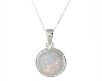 925 Sterling Silver Wave Break White Gilson Opal Cute Round Bezel Bezel Pendant Australian