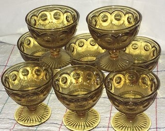 7 Vintage Indiana Glass Kings Crown Amber Yellow Footed Dessert Sherbet Goblets