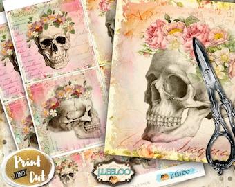 Digital collage COASTER SKULL - dias de los muertos square hang tags labels coaster - printable instant download - background papers - qu501