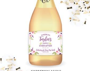 Bridal Shower Mini Champagne labels, Watercolor Floral mini wine labels, Bridal Shower Favors, Bachelorette Party Decorations, Shower Decor