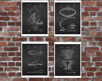 American Football Decor set of 4 Black & White Chalkboard Art. Boys Room Decor, Gift for football coach, Football Decor, Football posters