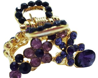 New Small Floral Amethyst  Crystal Multi Floral  Gold 3/4'' Hair Claw Clip