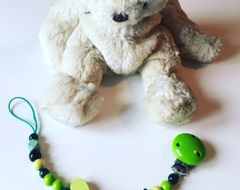 Attached nipple with Apple green, light green and black wooden beads