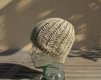 Knit Cable Hat, Beige Knit Beanie, Tan Winter Hat, Mens Skullcap, Womens Cable Hat, Teens Knit Hat, Buff Ski Hat, Snow Hat