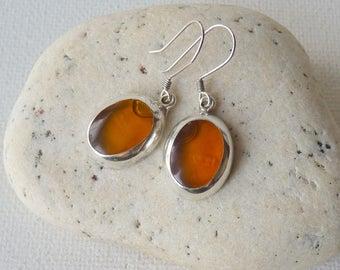 Yellow Mustard Resin Sterling Silver Earrings Vintage Oval Dangle Mexico Earrings Dangle Yellow Earrings, Retro Mexican Earrings70's Jewelry