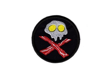 Bacon & Eggs Patch Food Skull and Cross Bones Funny Iron/Sew on Badge