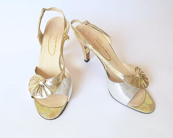 Vintage Gold Metallic Sandals / 80s Dancing Shoes / 1980s Gold Strappy Heels / Mid Heel Summer Sandals / UK Size 5